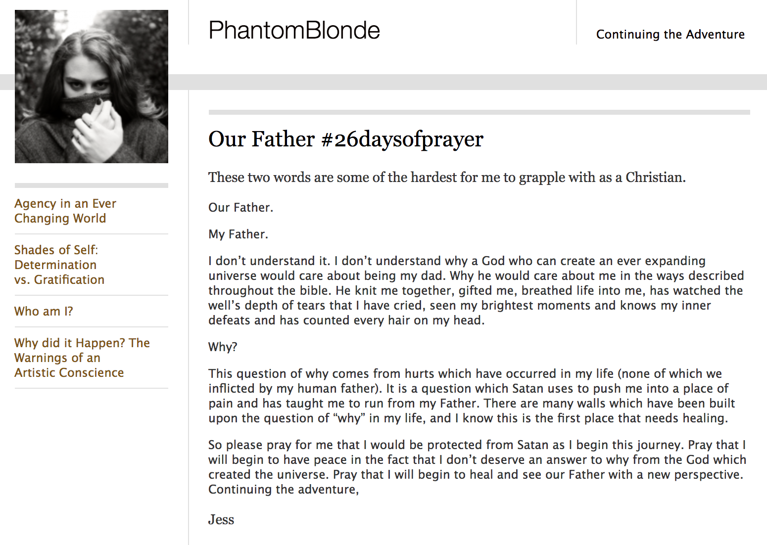 Screen Shot of the Phantom Blonde Blog Entry, 'Our Father'